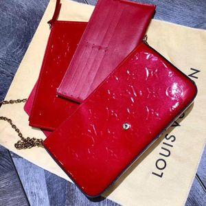 Louis Vuitton 路易·威登漆皮压花链条三合一斜挎单肩包