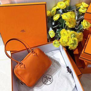 Hermès 爱马仕橙色全皮手提单肩包