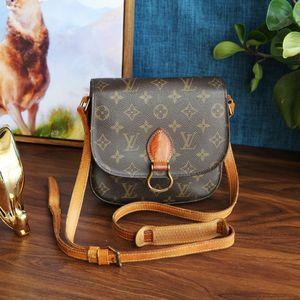 Louis Vuitton路易.威登老花配皮经典马蹄扣单肩包