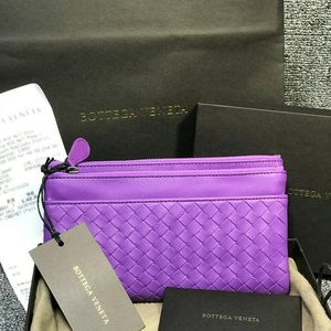 Bottega Veneta 葆蝶家女士拜占庭紫色皮质编织双拉链按扣对折手拿包