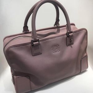 LOEWE 罗意威裸粉色牛皮方块手提包