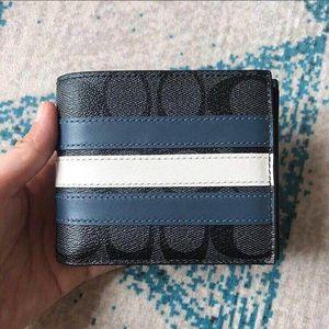 COACH 蔻驰灰色老花双蓝条纹男款短钱包