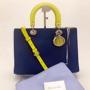 Dior 迪奥拼色VIP子母戴妃单肩手提包