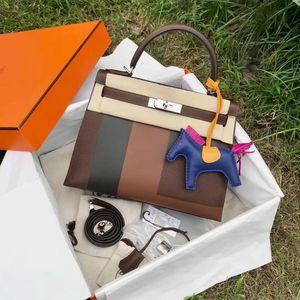 Hermès 爱马仕D刻Kelly28限量款拼色字母E手提包
