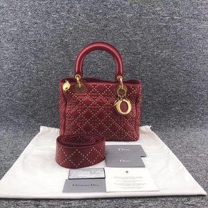 Dior 迪奥铁锈红情人节金扣铆钉5格戴妃女士手提包