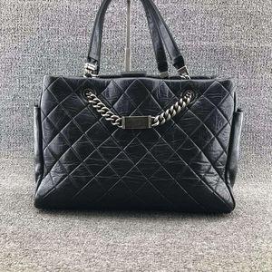 CHANEL 香奈儿女士黑色牛皮皮菱格纹大号购物包