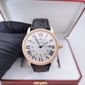 Cartier 卡地亚伦敦系列经典18k玫瑰金后镶钻机械表