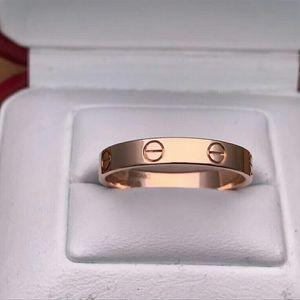 Cartier 卡地亚LOVE系列18k玫瑰金窄版61号戒指