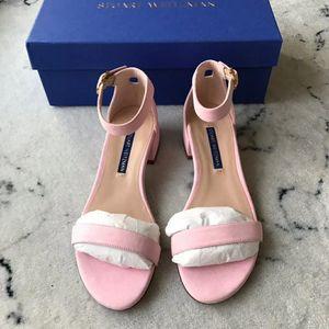 stuart weitzman 斯图尔特·韦茨曼粉色翻毛皮凉鞋