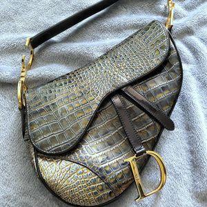 Dior 迪奥限量版鳄鱼纹墨绿dior马鞍包手提包