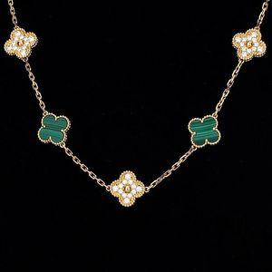 Van Cleef Arpels 梵克雅宝Vintage Alhambra10枚四叶幸运图案孔雀石镶钻项链