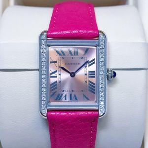 Cartier 卡地亚小坦克sol粉盘后钻女士腕表