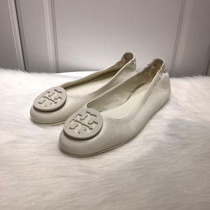 Tory Burch 托里伯奇新款女士白色羊皮芭蕾舞软底鞋