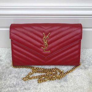 Yves Saint Laurent 伊夫·圣罗兰信封斜挎包中号红色金链条包