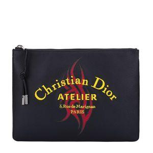 Dior 迪奥黑色刺绣拉链牛皮拉链手拿包