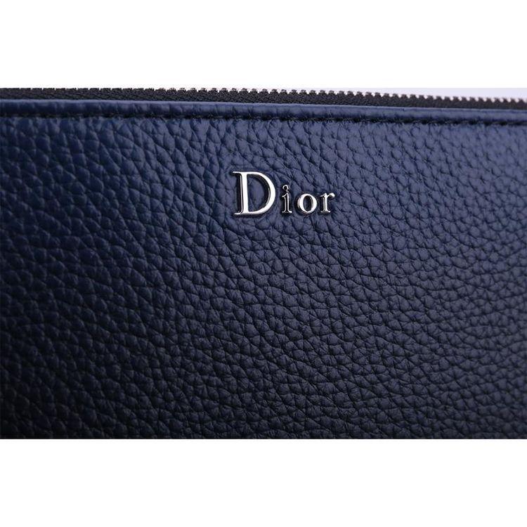 Dior 迪奥蓝色时尚牛皮拉链开合手拿包