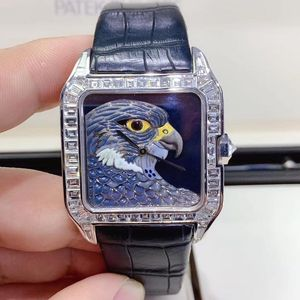 Cartier 卡地亚珐琅彩雄鹰白金男女腕表