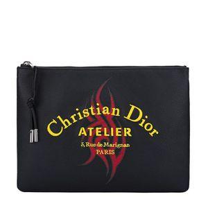 Dior 迪奥男款黑色刺绣拉链牛皮拉链手拿包