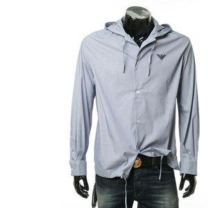Emporio Armani 安普里奥·阿玛尼鹰标图案男士细条纹连帽长袖衬衫