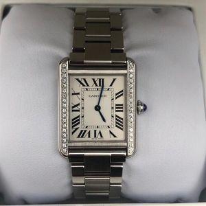Cartier 卡地亚坦克系列后镶钻中号石英女士腕表
