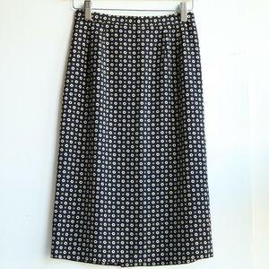 Burberry 博柏利YF07117简约深海蓝印花百搭混纺半身裙