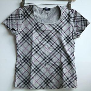 Burberry 博柏利伦敦YF07102格纹印花短袖T恤