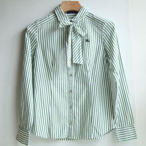 Burberry 博柏利蓝标YF07123浅绿条纹蝴蝶结职场衬衫