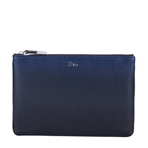 Dior 迪奥男款蓝色时尚牛皮拉链开合手拿包