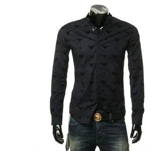 Emporio Armani 安普里奥·阿玛尼男士鹰标长袖衬衫