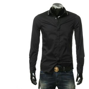 Emporio Armani  阿玛尼男士修身隐形扣长袖衬衫