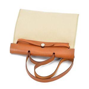 Hermès 爱马仕Herbag棕色米色布面拼皮单肩包