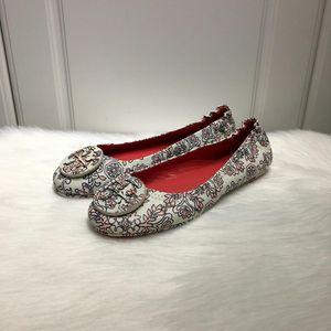 Tory Burch 托里伯奇女士白色印花羊皮平底鞋