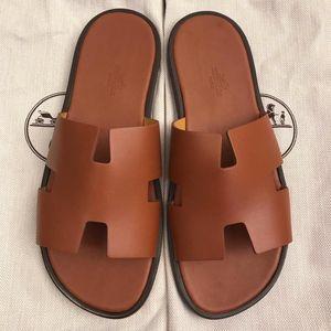 Hermès 爱马仕经典H型棕色牛皮男士凉拖鞋