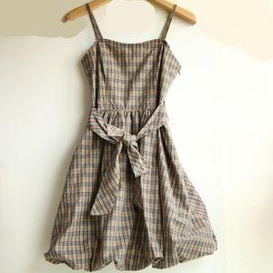 Burberry 博柏利蓝标经典格纹蝴蝶结吊带连衣裙