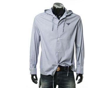 Emporio Armani安普里奥·阿玛尼鹰标图案男士细条纹连帽长袖衬衫