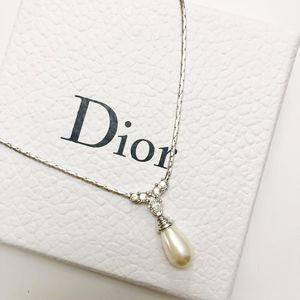 Dior 迪奥银色水滴项链