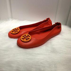 Tory Burch 托里伯奇女士橘色羊皮芭蕾舞软底鞋