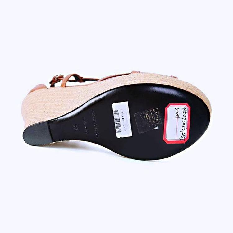 Burberry 博柏利经典格纹拼皮重工草编坡跟高跟凉鞋