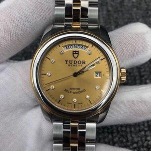 Tudor 帝舵金盘镶钻黄金圈黄金及钢表带骏珏自动机械表