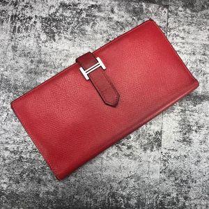 Hermès 爱马仕H扣红色长款钱包
