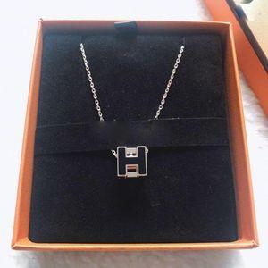 Hermès 爱马仕黑银poph方块珐琅项链