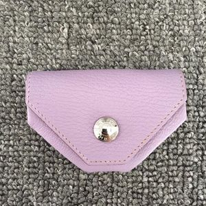 Hermès 爱马仕浅紫色真皮零钱包H刻