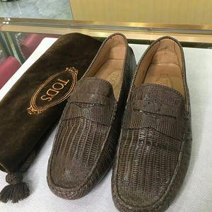 TOD'S 托德斯男士蜥蜴皮男士豆豆鞋