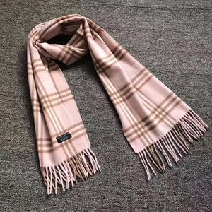 Burberry 博柏利经典粉色小格子羊绒围巾