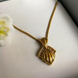Dior 迪奥XL12004闪钻镀金艺术坠金丝项链锁骨链
