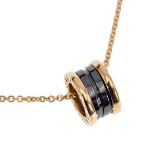 BVLGARI 宝格丽B.zero1系列18K黄金黑陶瓷吊坠项链
