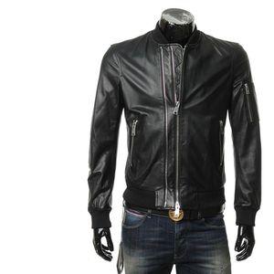 Emporio Armani 阿玛尼男士真皮皮衣夹克外套