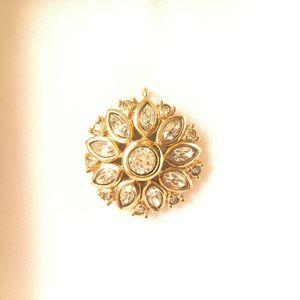 Dior 迪奥XL12067太阳花闪钻镀金大吊坠