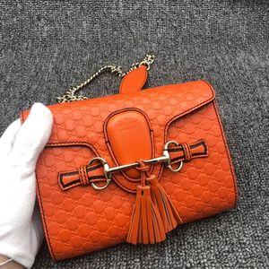 GUCCI 古驰橙色女士链条单肩包