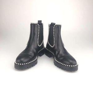 Alexander Wang 亚历山大·王黑色牛皮圆珠切尔西靴短靴